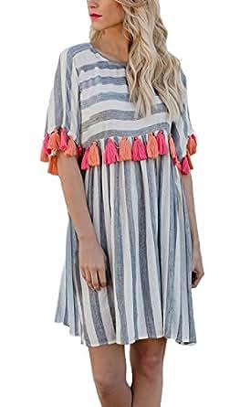 Vestidos Mujer Cortas Elegante Verano Rayas Manga Corta Cuello Redondo Ropa Dama Moderno Mini Vestido Anchas Casuales Moda Borlas Dress: Amazon.es: Ropa y ...