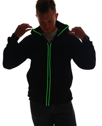 - Electric Styles Light up Black Hoodie (X-Large, Green LED)