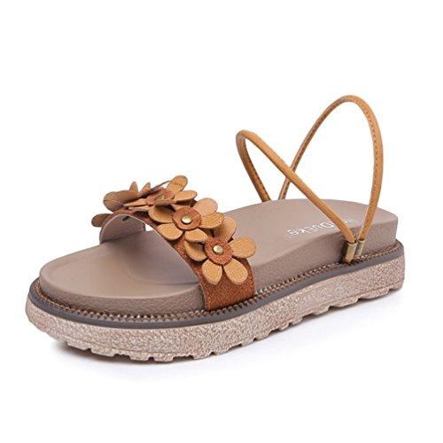 34 JRenok Femme Élégant Mot de Chaussures des Chameau Boucle Ouvert 43 Sandales Plates à Fleurs Bout Sandales avec ZqEnrAtZ