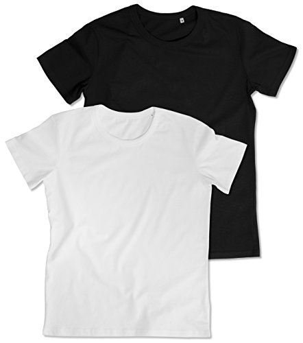 2er-Pack original STEDMAN® BEN Herren-T-Shirt in Premium-Qualität mit Rundhalsausschnitt, Weiß und Schwarz