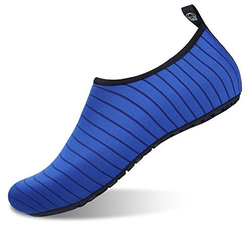 JOINFREE Women's Men's Kid Aqua Sports Swim Water Shoe Skin Barefoot Footwear for Beach Line Blue 1-2 M US Little Kid