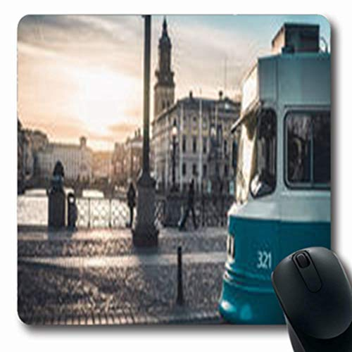 Pandarllin Mousepads View Sunset Behind Tram City in Goteborg Sweden Gothenburg Parks Outdoor Oblong Shape 7.9 x 9.5 Inches Oblong Gaming Mouse Pad Non-Slip Rubber Mat