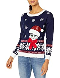 Blizzard Bay Womens L/s Crew Neck Christmas Cat Pullover Sweater