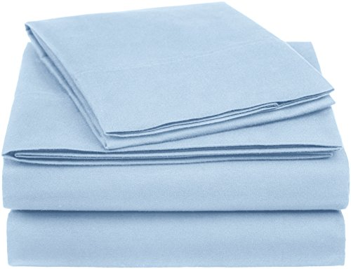 AmazonBasics Essential Cotton Blend Bed Sheet Set, Twin, Smoke Blue (Sets Twin Clearance Sheet)