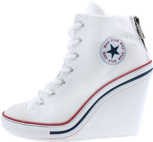 Maxstar Wedge Shoes 777 White Back Heels Zipper Canvas aaqAxOw81