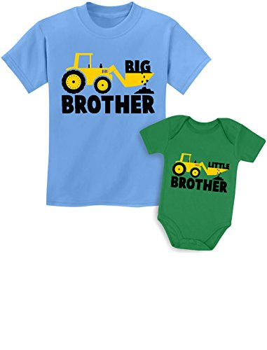 Big Brother Little Brother Shirts Gift for Tractor Loving Boys Siblings Set Baby Green/Kids California Blue Baby 6M / Kids 4T ()