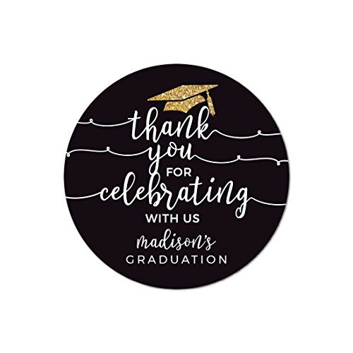 Andaz Press Black and Gold Glittering Graduation Party Collection, Personalized Round Circle Label Stickers, Thank You for Celebrating With Us, 40-Pack, Madison's Graduation Custom Name