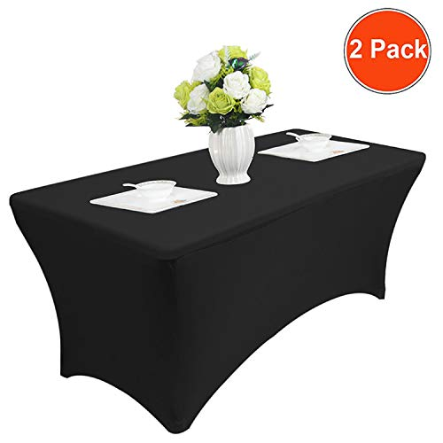 Reliancer 2 Pack 48FT Rectangular Spandex Table Cover Four-Way Tight Fitted Stretch Tablecloth Table Cloth for Outdoor Party DJ Tradeshows Banquet Vendors Weddings Celebrations (6FT, Black) by Reliancer (Image #3)