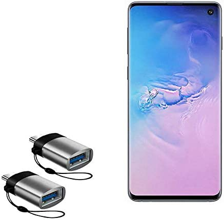 USB Type-C OTG USB Portable Keychain for Samsung Galaxy S10 Slate Grey BoxWave Samsung Galaxy S10 Cable USB Type-C PortChanger 2-Pack