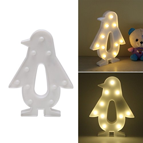 REVEW Marquee LED Night Light, Cute LED Lamps on Wall£¬room Decorative Light, Table Lamp Mood Lights Lamp Children's Room Christmas Decor White (Penguin)