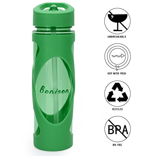 Clerance Sale-19 oz Sports Tritan Plastic Water Bottle Straw Lid Leak Proof Flip Top Cap Portable To-Go with Handle and Cleaning Brush (Green)