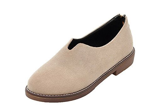 Odomolor Women's Solid Pu Low-Heels Round-Toe Pull-On Pumps-Shoes Beige OHPbpGS