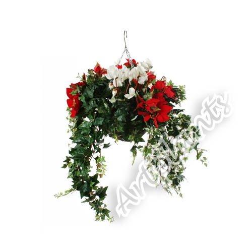 Closer To Nature 14 Zoll Elite Range Hängekorb mit Kunstblumen, Roter Weihnachtsstern und weißes Alpenveilchen