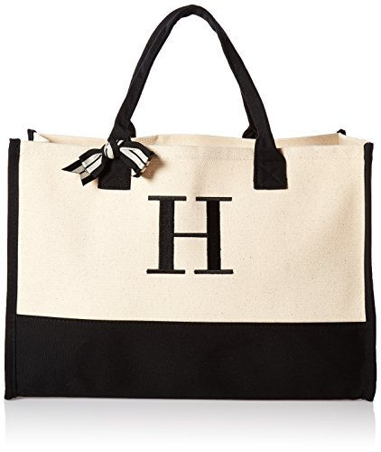 (Mud Pie H-Initial Canvas Tote )