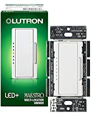 Lutron Maestro LED+ Dimmer Switch | for Dimmable LED, Halogen & Incandescent Bulbs | Single-Pole or Multi-Location | MACL-153M-WH-C | White