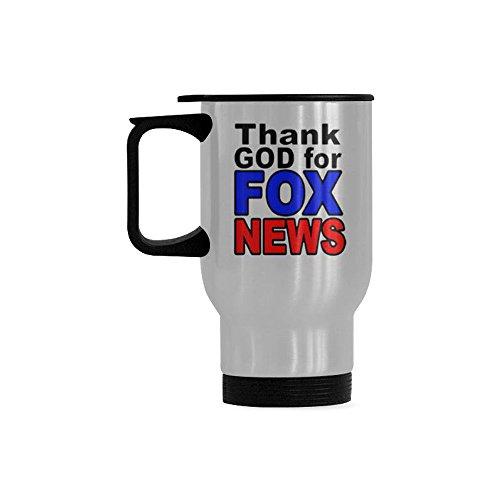 WECE Funny Coffee Mug - Thank God For Fox News Stainless Steel Coffee Mug Cup,Awesome Birthday Present For Anyone Who Love Tea Mugs,Coffee Cups (14 Ounce)