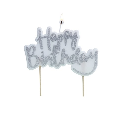 Ginger Ray Sparkling Silver Glitter Happy Birthday Cake Candle Topper - Pick And Mix