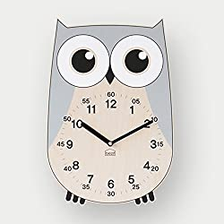 BEZIT Non-Ticking, Silent 11-Inch Wall Clock - Decorative, Modern, Clean, Cute, Kid-Friendly Design for Indoor, Office, Home, Baby Room (Grey Owl)