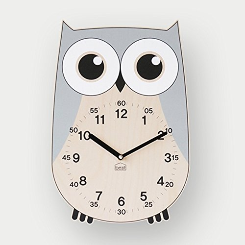 BEZIT Non-Ticking, Silent 11-Inch Wall Clock – Decorative, Modern, Clean, Cute, Kid-Friendly Design For Indoor, Office, Home, Baby Room (Grey Owl) (Baby Clock Modern Wall)