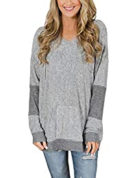 Women Color Block Long Sleeve V Neck Drawstring Pullover Hoodie Sweater Tops