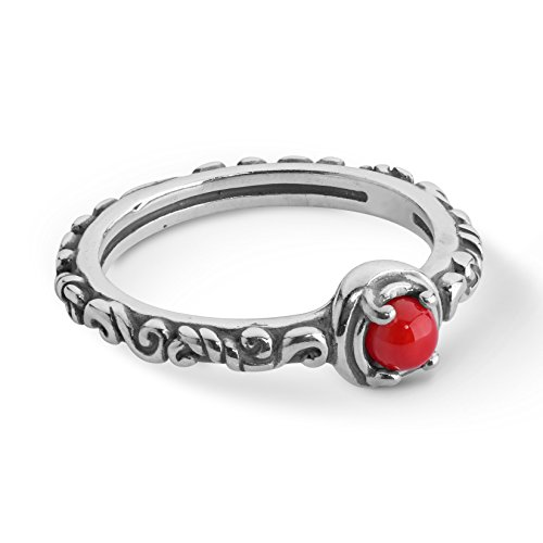 Carolyn Pollack Sterling Silver Red Coral Gemstone Single Round Stone Band Ring Size 8 ()