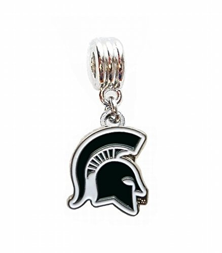 MSU MICHIGAN STATE UNIVERSITY SPARTANS CHARM SLIDER PENDANT ADD TO YOUR NECKLACE EUROPEAN BRACELET DIY PROJECTS ETC (Necklace State Charm University)
