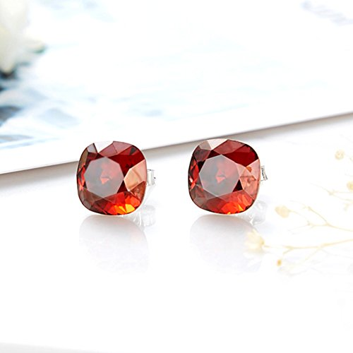 SNOWH Cubic Zirconia Stud Earrings for Women Girls-Cushion CZ Rhinestone Hypoallergenic Earrings for Wedding, Prom, Daily Wear,Jewelry Gifts Rose Red