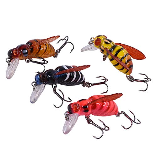 Insect Lure - MAKEBASS 1.6in/0.2oz Artificial Bee-Shaped Fishing Lures Hardbait 4PCS Insect Bumblebee Fishing Lures Topwater CrankBait Bass Fishing Tackle