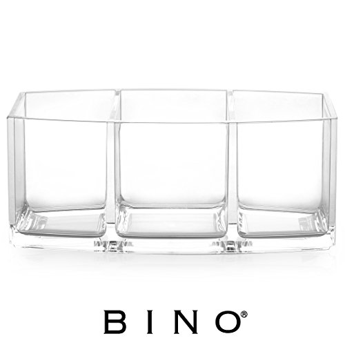 BINO Keep It Simple 3 Compartment Acrylic Jewelry and Makeup Organizer, Clear and Transparent Cosmetic Beauty Vanity Holder Storage, Clear