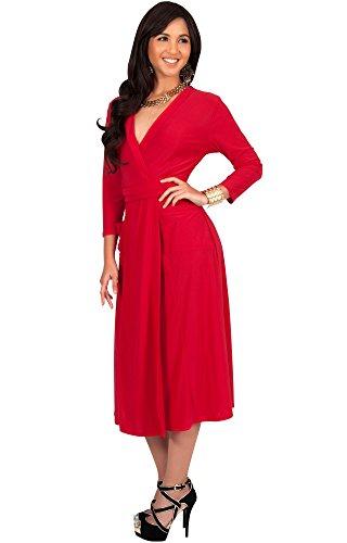 KOH KOH® La Mujer Vestido Midi de cóctel con mangas media Rojo
