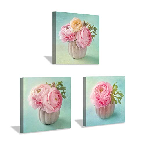 Hardy Gallery Floral Pictures Nature Artwork Prints: Bloom Pink Rose Bouquet in Ivory Vase, 3 Piece Graphic Art on Wrapped Canvas Set for Homes Decor (Seafoam Green Wall Decor)
