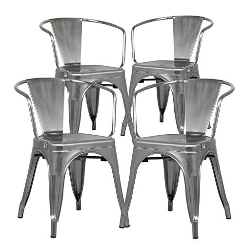 Poly and Bark Trattoria Modern Mid-Century Dining Kitchen Metal Side Arm Chair in Polished Gunmetal (Set of 4)