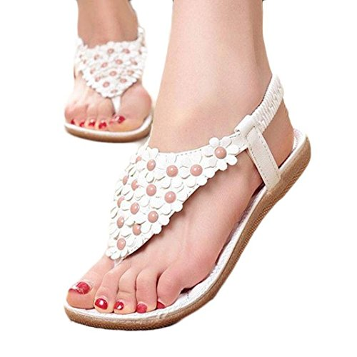 Clearance!Hot Sale! ❤️ Women Sandals, Neartime Summer Bohemia Sweet Beaded Clip Toe Sandals Hollow out Beach Shoes (❤️US5.5, White) (Cone Mid Bass)