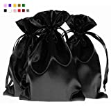 Linen and Bags 6' x 9' Black Satin Bags, Jewelry Bags, Wedding Favor Drawstring Bags Baby Shower Bags 50 per Pack