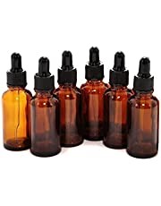 6Pcs Amber Glass Dropper Bottle Empty Refillable Essential Oil Cosmetics Perfume Glass Jar Pot Vial Containers With Black Rubber Lid And Glass Eye Dropper size 15ML/0.5oz