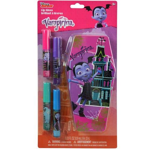 - KidPlay Products Disney Vampirina Flavored Lip Gloss 4 Pack with Collectible Coffin Tin