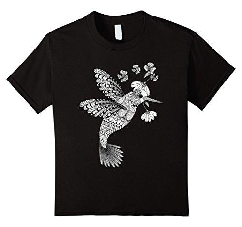 Kids Color Me Hummingbird DIY T-shirt 4 Black