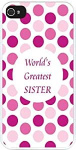 Rikki KnightTM World's Greatest Sister Pink Polka Dot Design iPhone 5 & 5s Case Cover (White Rubber with bumper protection) for Apple iPhone 5 & 5s
