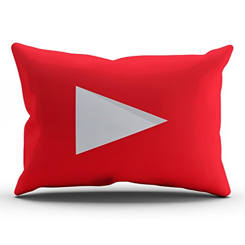 KEIBIKE Personalized Social Media Logo Youtube Rectangle Decorative Lumbar Pillowcases Red Design Zippered Throw Pillow Covers Cases 12x24 Inches One Sided