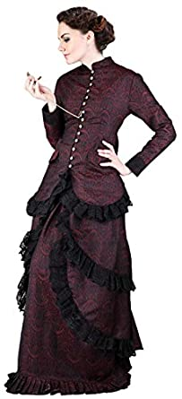 Victorian Costumes: Dresses, Saloon Girls, Southern Belle, Witch Steampunk Victorian Brocade Dinner Blouse $67.95 AT vintagedancer.com