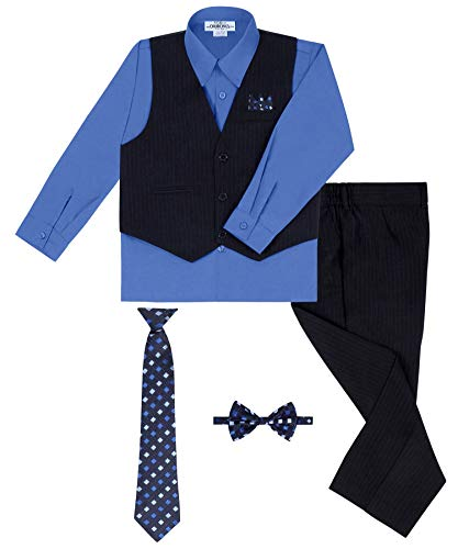 S.H. Churchill & Co. Boy's Vest and Pant Set, Includes Shirt, Tie and Hanky -  Navy/Victorian Blue, 6 -