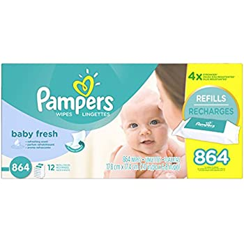 576 /& 864 Count Pampers Baby Wipes Sensitive Water Based 3 Package Pack of 504