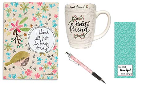 (Sweet Friend Coffee Mug, Be Happy Today Journal, Pink Ink Pen with Bookmark - Bundle)