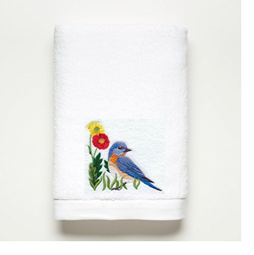 BLUE BIRD ~ Embroidered Bath Towel