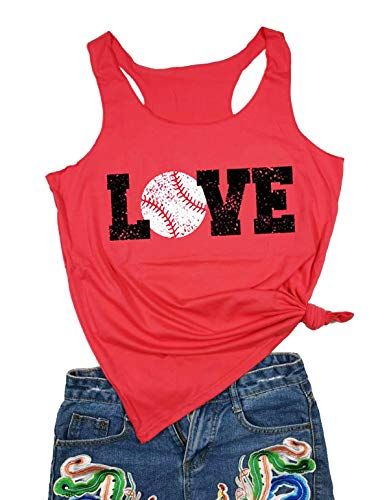 Love Baseball Mom Racerback Tank Tops Women Casual Summer Graphic Cute Sleeveless Shirts Tees (Large, Red)