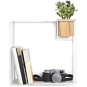 Umbra Cubist Floating Wall Shelf, Large, White