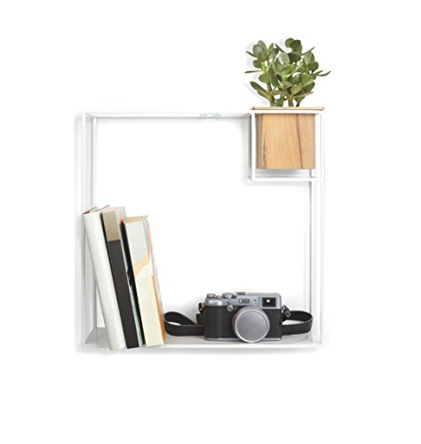 Umbra Cubist Floating Wall Shelf, Large, White