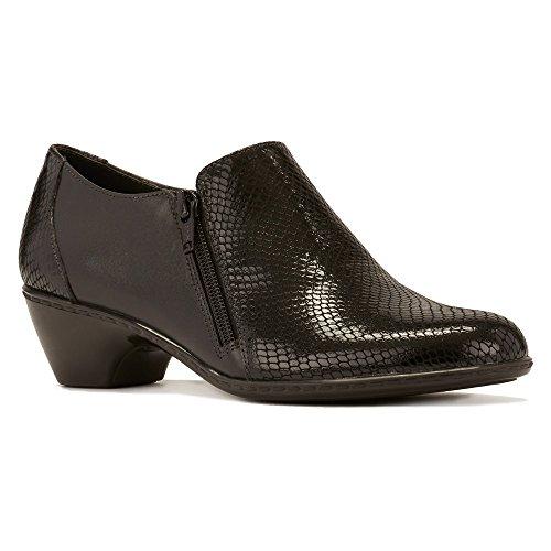 Walking Cradles Women's Cadence Black Leather/Black Patent Snake Print Pump 6.5 M (B)