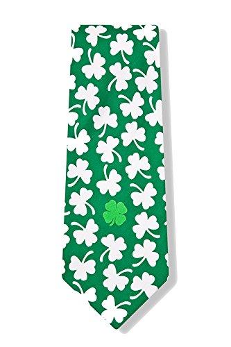 Men's St Patrick's Green Four Leaf Clover Shamrock Lucky Find Microfiber Necktie Tie Neckwear