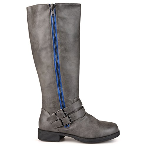 Brinley Co Women's Fulton Knee High Boot, Grey, 10 Extra Wide/Wide Shaft (S&s Shafts)